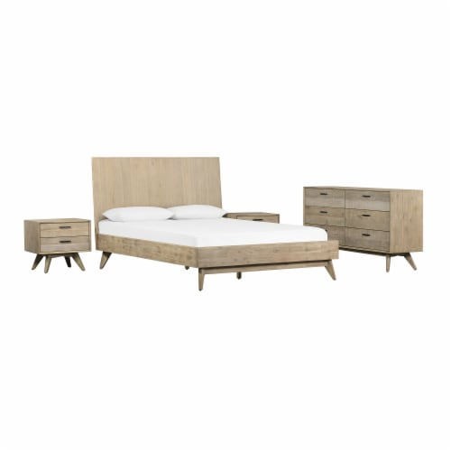 Baly 4 Piece Acacia King Platform Bedroom Set with Dresser and Nightstands Perspective: back