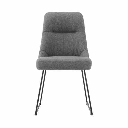Quartz Gray Fabric and Metal Dining Room Chairs - Set of 2 Perspective: back