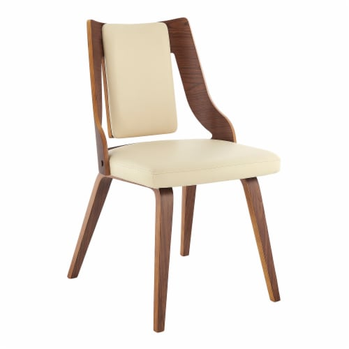 Aniston Cream Faux Leather and Walnut Wood Dining Chairs - Set of 2 Perspective: back