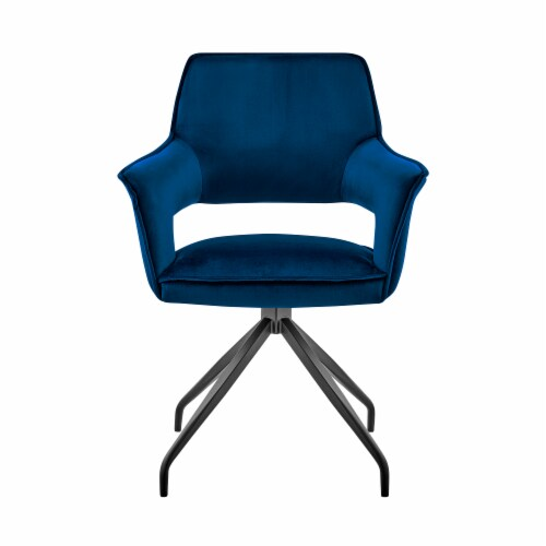 Hadley Dining Room Accent Chair in Blue Velvet with Black Finish Perspective: back