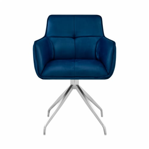 Noah Dining Room Accent Chair in Blue Velvet and Brushed Stainless Steel Finish Perspective: back