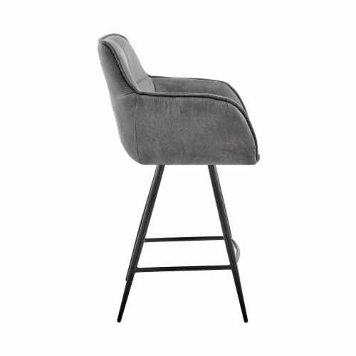 """Verona 26"""" Counter Height Bar Stool in Charcoal Fabric and Black Finish Perspective: back"""