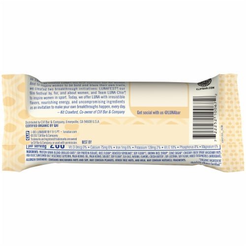 Luna White Chocolate Macadamia Nutrition Bar Perspective: back