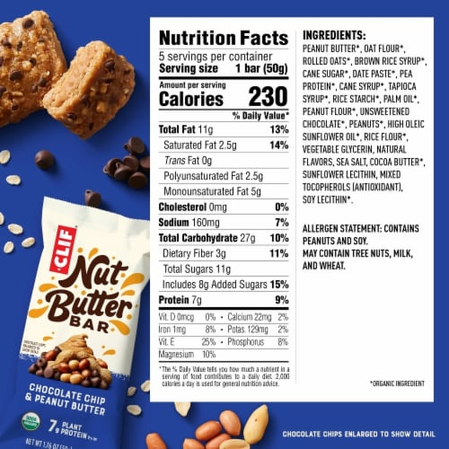 Clif Chocolate Chip & Peanut Butter Nut Butter Bar Perspective: back