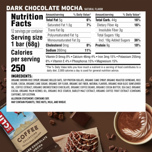 Clif Bar Coffee Collection Dark Chocolate Mocha Energy Bars Perspective: back