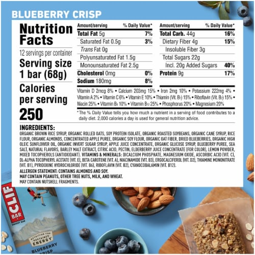 Clif Bar Blueberry Crisp Protein Energy Bars Perspective: back