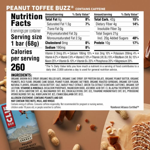 Clif Bar Peanut Toffee Buzz Energy Bars Perspective: back