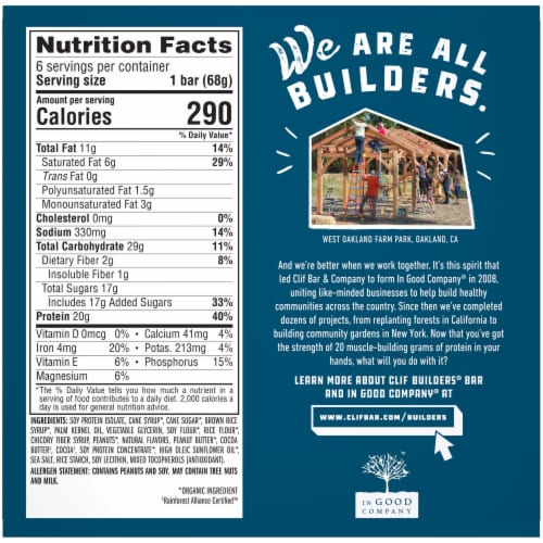 Clif Bar® Builders Chocolate Peanut Butter Protein Bars Perspective: back