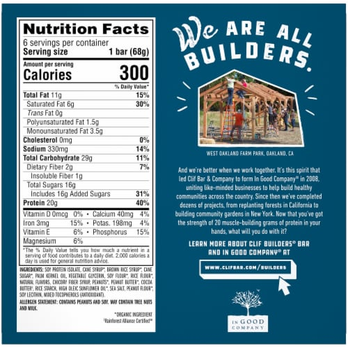 Clif Builder's Gluten Free Crunchy Peanut Butter Protein Bars Perspective: back