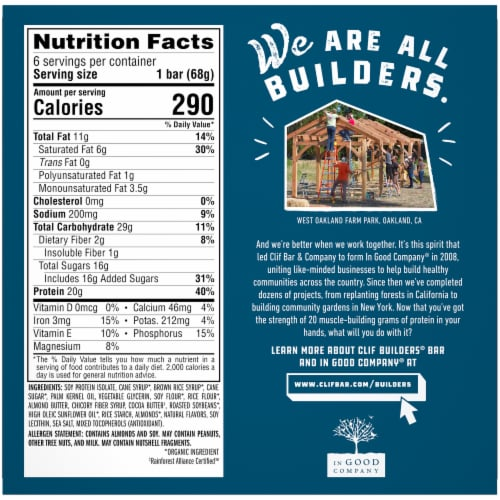 Clif Bar Builders Vanilla Almond Protein Bars Perspective: back