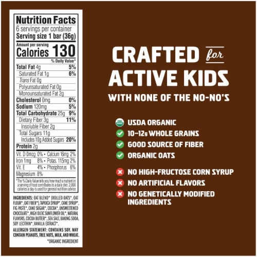 Clif Kid Zbar Organic Chocolate Brownie Snack Bars Perspective: back