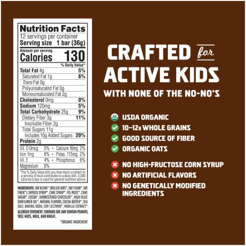 Clif Kid Zbar Organic Chocolate Brownie Energy Snack Bars Perspective: back