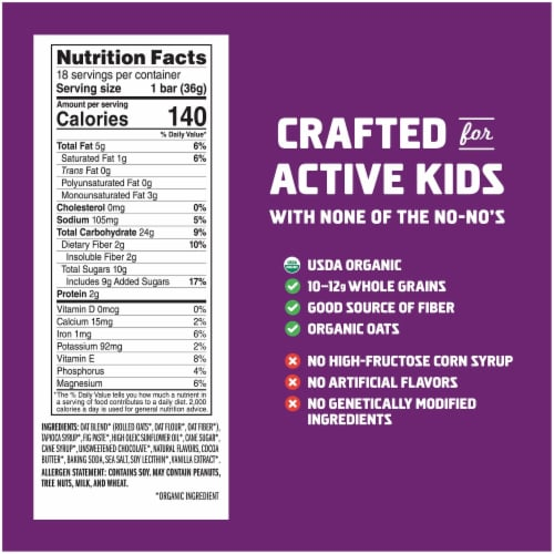 Clif Kid ZBar Organic Chocolate Chip Energy Snack Bar Perspective: back