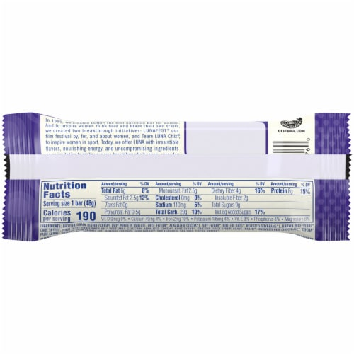 Luna Gluten-Free Chocolate Cupcake Whole Nutrition Bar Perspective: back