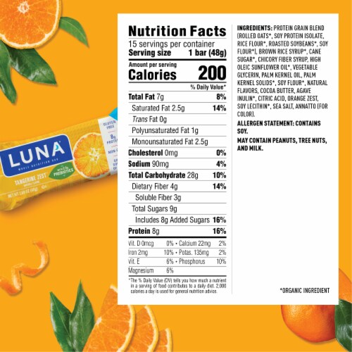 Luna Tangerine Zest Nutrition Bars Perspective: back