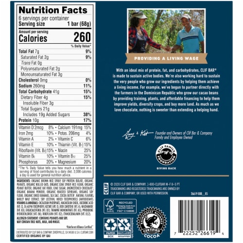 Clif Bar Peanut Butter Banana with Dark Chocolate Energy Bars Perspective: back