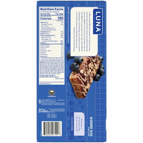 Luna Bar Blueberry Bliss Flavor Gluten Free Nutrition Snack Bars Perspective: back