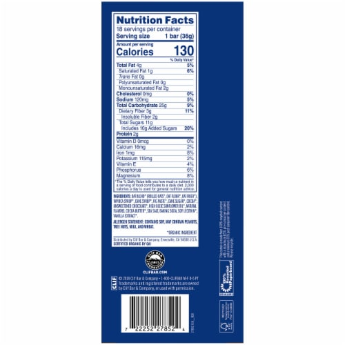 Clif Kid Zbar Organic Chocolate Brownie Baked Whole Grain Energy Snack Bars Perspective: back
