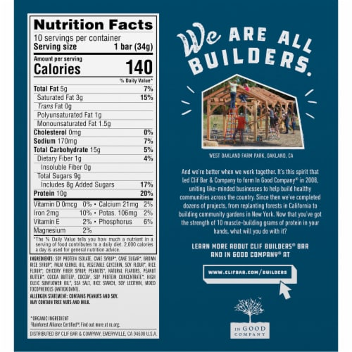 Clif® Builders® Protein Minis Chocolate Peanut Butter Protein Bars Perspective: back