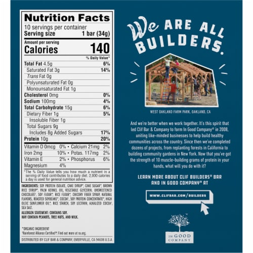Clif Builder's Minis Chocolate Mint Protein Bars Perspective: back