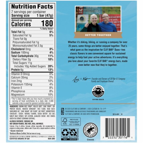 Clif® Bar Duos Cool Mint Chocolate + Chocolate Chip Energy Bar Perspective: back