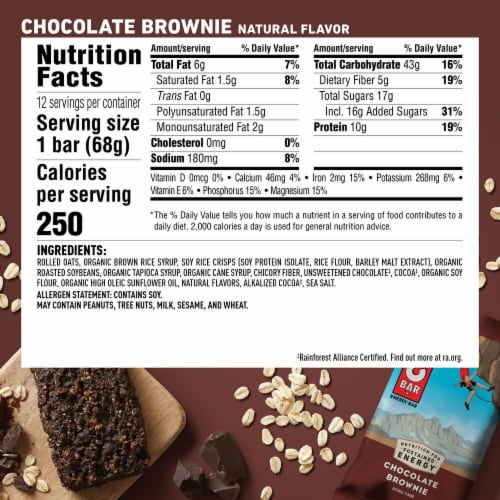Clif Bar Chocolate Brownie Energy Bars 12 Count Perspective: back