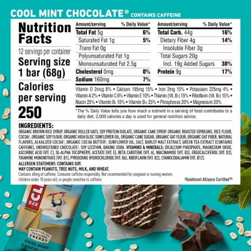 Clif Bar Cool Mint Chocolate Energy Bars Perspective: back