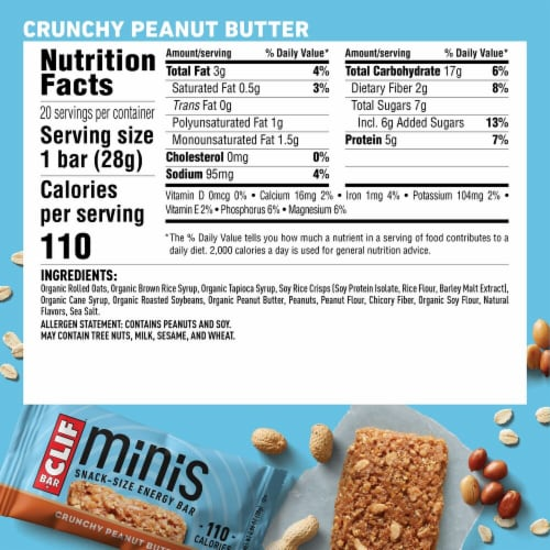 Clif Bar® Minis Crunchy Peanut Butter Snack Size Energy Bars Perspective: back
