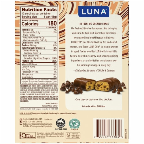 Luna Chocolate Chip Cookie Dough Protein Bars 12 Count Perspective: back
