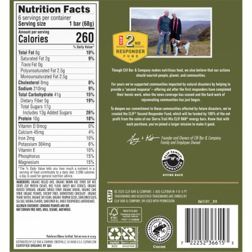 Clif Bar Sierra Trail Mix Energy Bars Perspective: back