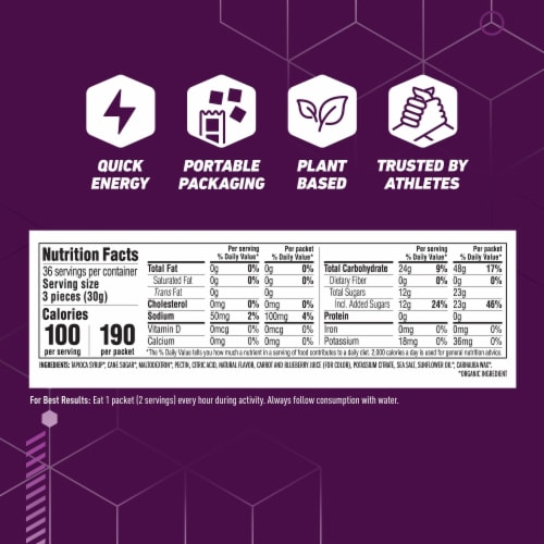 Clif Athlete Series Bloks Mountain Berry Energy Chews Perspective: back