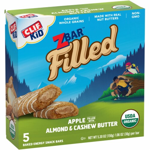 Clif Kid Organic Z Bar Apple Filled with Almond & Cashew Butter Baked Energy Snack Bars Perspective: back