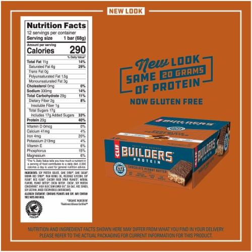Clif Bar Builders Chocolate Peanut Butter Protein Bars Perspective: back
