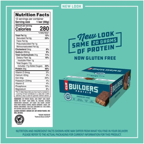Clif Bar Builders Chocolate Mint Protein Meal Bars Perspective: back
