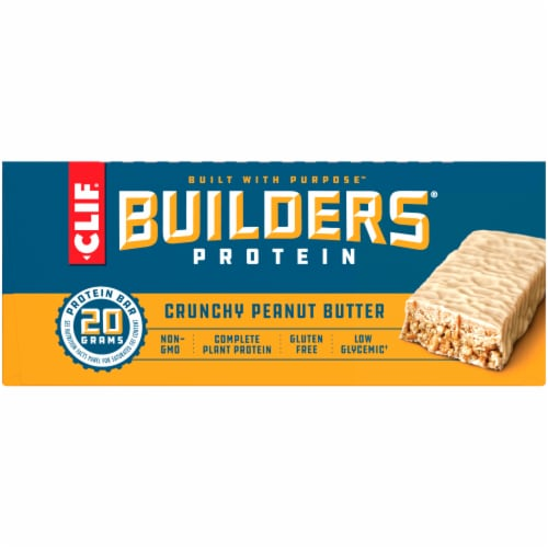 Clif Bar Builders Gluten Free Crunchy Peanut Butter Protein Bars Perspective: back
