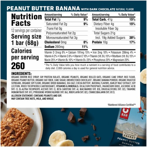 Clif Bar® Peanut Butter Banana with Dark Chocolate Energy Bars Perspective: back