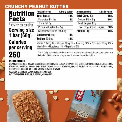Clif Crunchy Peanut Butter Energy Bars 6 Count Perspective: back