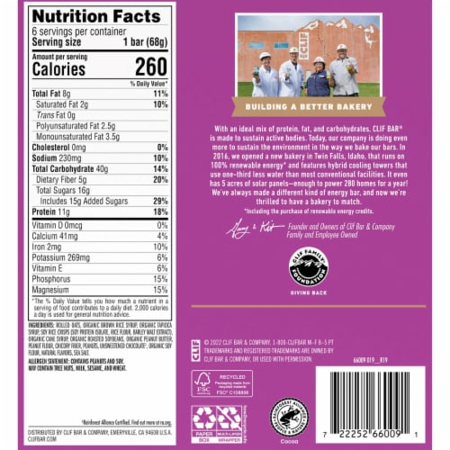 Clif Bar Chocolate Chip Peanut Crunch Energy Bars Perspective: back