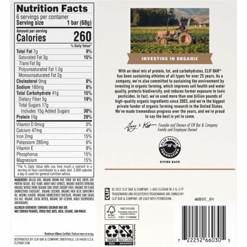 Clif Bar Coconut Chocolate Chip Energy Bars Perspective: back