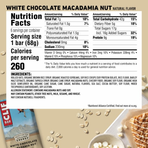 Clif Bar White Chocolate Macadamia Nut Energy Bars Perspective: back