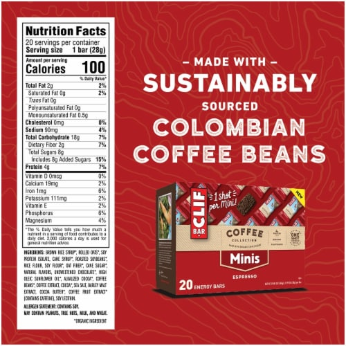 Clif Bar Coffee Collection Espresso Mini Energy Bars Perspective: back