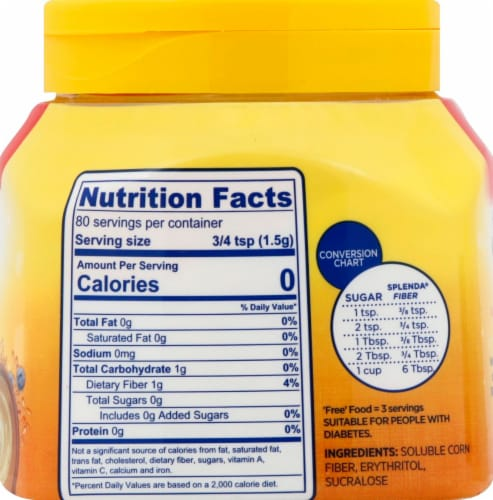 Splenda No Calorie Sweetener with Fiber Perspective: back