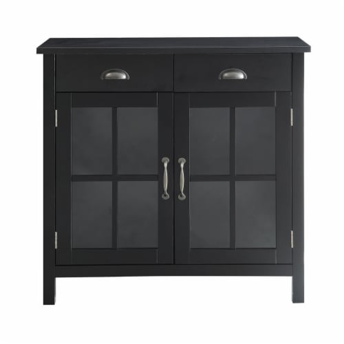 Belray Home Accent Glass Door Cabinet with Drawers and Adjustable Shelf, Black Perspective: back