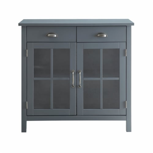 Belray Home Accent Glass Door Cabinet with Drawers and Adjustable Shelf, Gray Perspective: back
