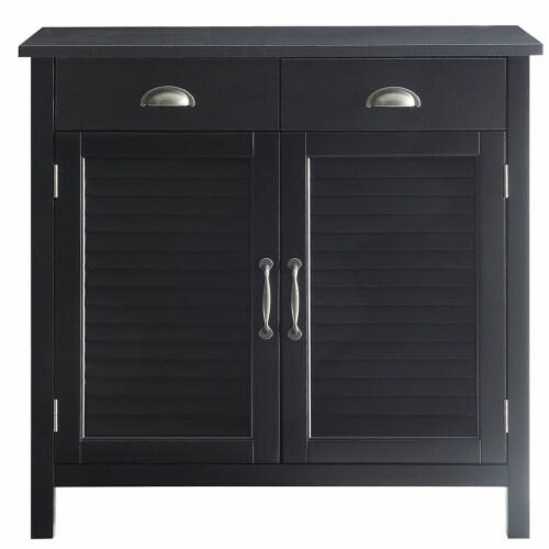 Belray Home Storage Accent Cabinet with Shutter Doors & Adjustable Shelf, Black Perspective: back