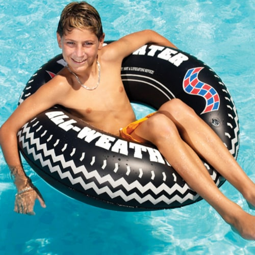 Swimline 9021 36 Inch Inflatable Swimming Pool River Lake Floating Tire Tube Perspective: back