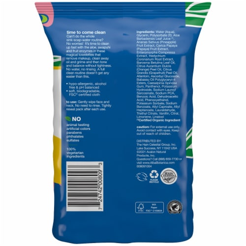 Alba Botanica® Hawaiian Pineapple Enzyme 3-In-1 Clean Towellettes Perspective: back