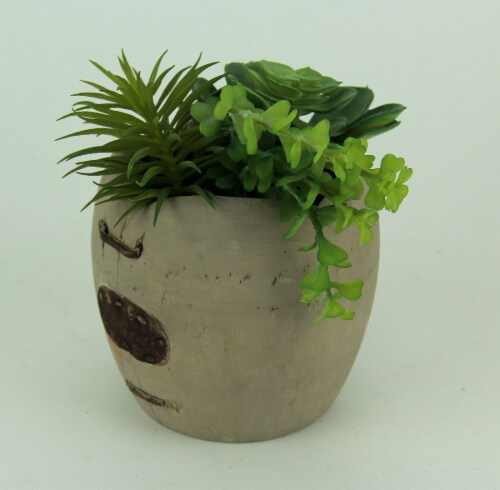 Artificial Succulents in Rustic Apple Shaped Wood Planter Perspective: back