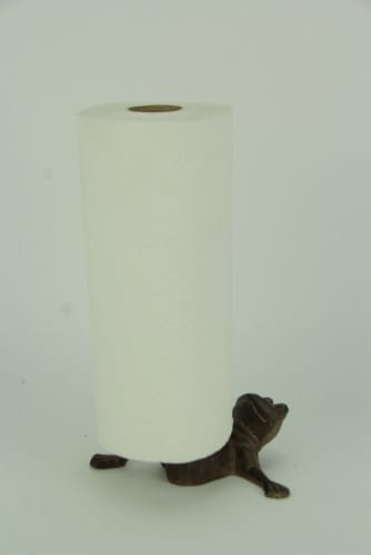 Rustic Brown Cast Iron Long Leg Frog Paper Towel Holder Perspective: back