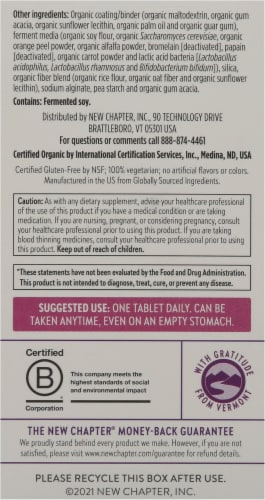 New Chapter Organics Every Woman One Daily 40-Plus Tablets Perspective: back